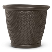 Suncast Herringbone Resin Pot Planter (Set of 2); Java