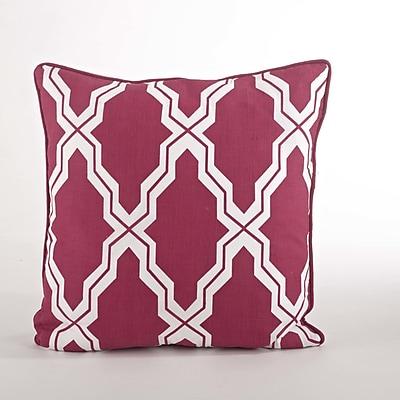 Saro Yasmina Moroccan Design Down Filled Throw Pillow; Raspberry