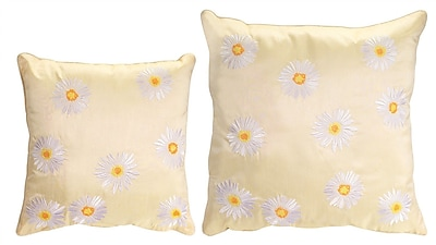 Melrose Intl. 2 Piece Embroidered Daisy Throw Pillow Set; Yellow/White