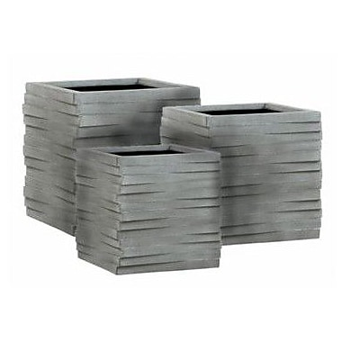 PrideGardenProducts Esteras 3-Piece Stone Planter Box Set; Concrete