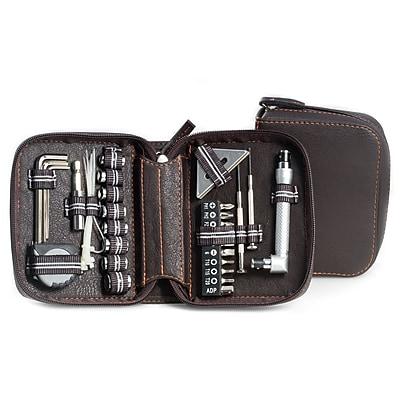 Bey-Berk 28 pc. Tool Set in Brown Zippered Leatherette Case (BB408)