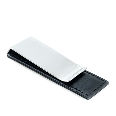 Bey-Berk Chrome Plated Leather Money Clip