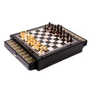 Bey-Berk Carbon Fiber & Mother of Pearl Chess Set (G551)