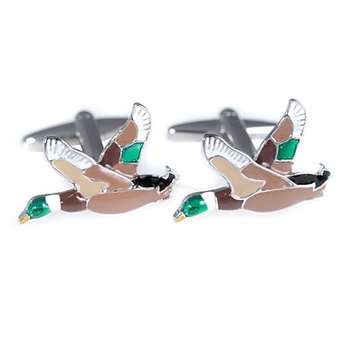 Bey-Berk Rhodium Plated Cufflinks, Ducks In Flight (J241)