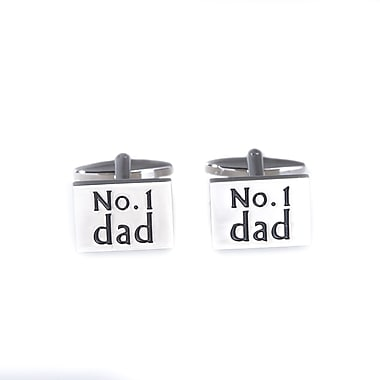 Bey-Berk Rhodium Plated Cufflinks, # 1 Dad (J246)