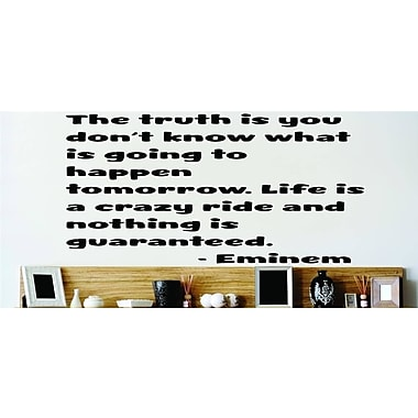 Design With Vinyl The Truth Is You Don't Know - Eminem Quote Wall Decal; 16'' H x 16'' W x 0.06'' D