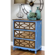 Aspire Lara French Country 3 Drawer Chest; Blue