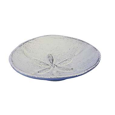 Handcrafted Nautical Decor Sand Dollar Decorative Plate; White