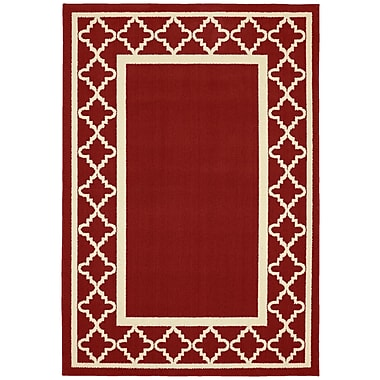Garland Rug Moroccan Frame Crimson/Ivory Area Rug; 2'6'' x 3'10''