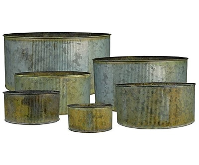 CYSExcel Corrugated Zinc Metal Cylinder 6 Piece Table Vase Set