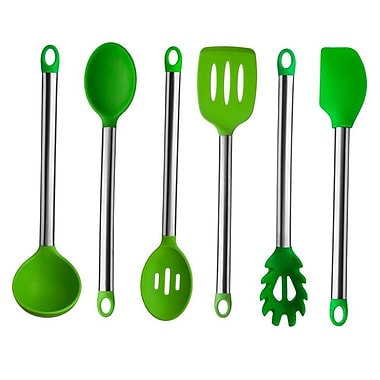 Culinary Edge 6 Piece Stainless Steel Utensil Set; Green