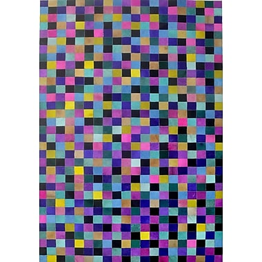 Modern Rugs Blue/Yellow/Pink Area Rug; Rectangle 6' x 9'