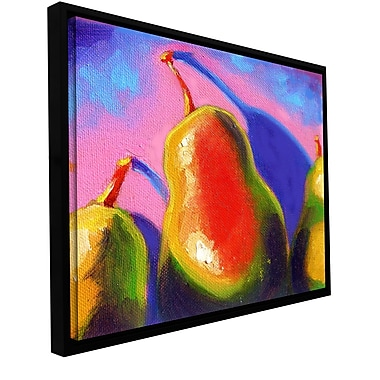 ArtWall 'Pearfect Shadow' by Susi Franco Framed Painting Print on Wrapped Canvas; 14'' H x 14'' W