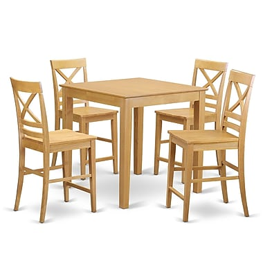 East West 5 Piece Counter Height Pub Table Set; Oak