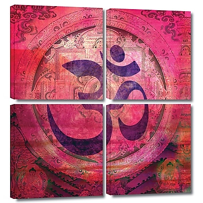 ArtWall 'Om Mandala' by Elena Ray 4 Piece Graphic Art on Wrapped Canvas Set; 48'' H x 48'' W x 2'' D