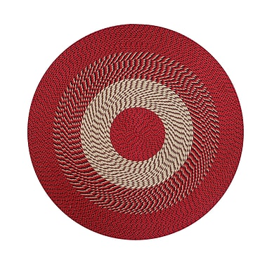 Better Trends Braided Stripe Barn Red/Tan Area Rug; Round 6'