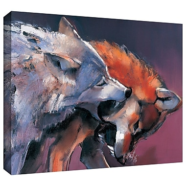 ArtWall 'Two Wolves' by Mark Adlington Print of Painting on Wrapped Canvas; 24'' H x 32'' W