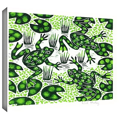ArtWall Leaping Frogs' by Nat Morley Painting Print on Wrapped Canvas; 18'' H x 18'' W