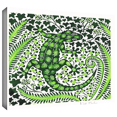 ArtWall 'Green Gecko' by Nat Morley Painting Print on Wrapped Canvas; 14'' H x 14'' W WYF078277282663