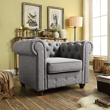 Mulhouse Furniture Garcia Chair and a half; Gray