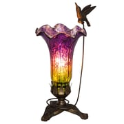 River of Goods Hummingbird Lily 10.25'' Torchiere Lamp; Purple/Green