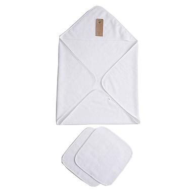 Arus Baby Organic Turkish Cotton Terry Hooded Nursery 3 Piece Towel Set; White