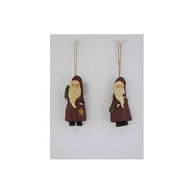 Craft Outlet 2 Piece Papier Mache Santa Shaped Ornament Set