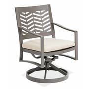 AMS Outdoor Chevron Swivel Dining Arm Chair with Cushion; Cast Silver