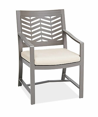 AMS Outdoor Chevron Dining Arm Chair with Cushion; Spectrum Dove