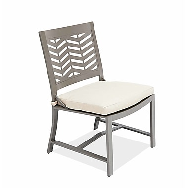 AMS Outdoor Chevron Dining Side Chair with Cushion; Cast Silver