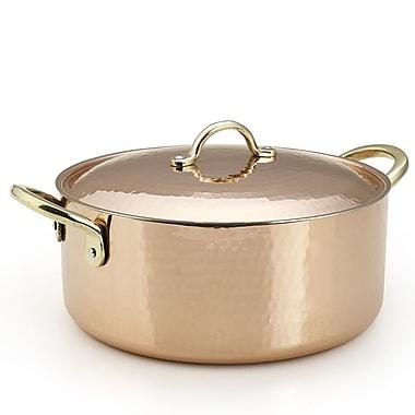 Kuprum Copper Round Casserole; 4'' H x 12.6'' W x 9.45'' D