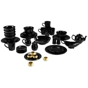Ten Strawberry Street Nova Round Beaded 45 Piece Dinnerware Set; Black