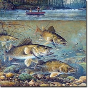 WGI GALLERY 'Fisherman's Walleye' Painting Print on Wood; 12'' H x 12'' W x 0.5'' D