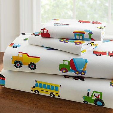 Wildkin Olive Kids 210 Thread Count Trains, Planes and Trucks Sheet Set; Full