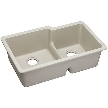 Elkay Gourmet 33'' x 20.5'' Double Bowl Undermount Sink; Bisque