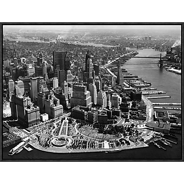 Global Gallery 'Aerial View of Manhattan' Framed Photographic Print; 18'' H x 24'' W x 1.5'' D