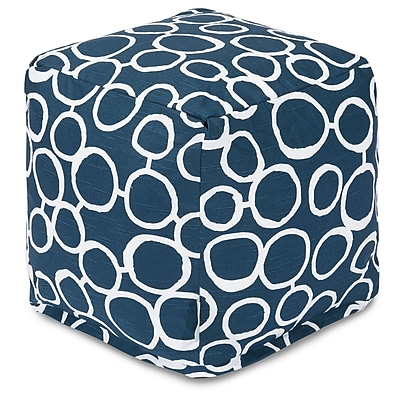 Majestic Home Goods Fusion Cube Ottoman; Navy