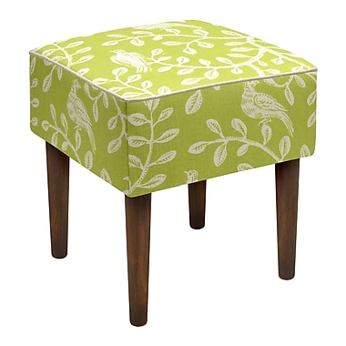 123 Creations Birds and Vines Linen Upholstered Modern Vanity Stool; Chartreuse Green