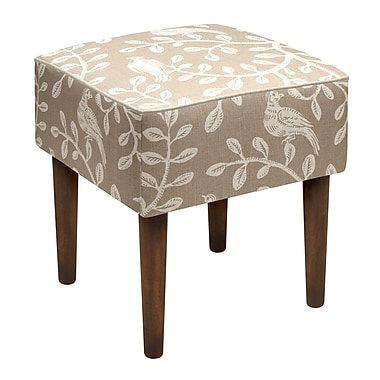 123 Creations Birds and Vines Linen Upholstered Modern Vanity Stool; Taupe