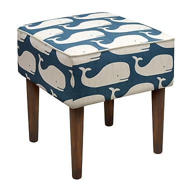 123 Creations Whales Linen Upholstered Modern Vanity Stool; Navy Blue