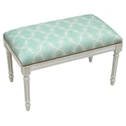 123 Creations Trellis Upholstered Entryway Bench; Aqua