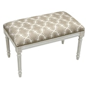 123 Creations Trellis Upholstered Entryway Bench; Taupe