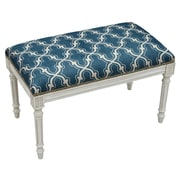 123 Creations Trellis Upholstered Entryway Bench; Navy Blue