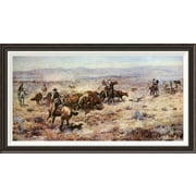 Global Gallery 'The Round-Up' by Charles M. Russell Framed Painting Print; 22'' H x 40'' W x 1.5'' D