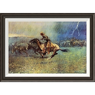 Global Gallery 'The Stampede' by Frederic Remington Framed Painting Print; 24'' H x 34'' W x 1.5'' D