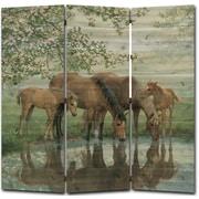 WGI GALLERY 68'' x 68'' Sweet Spring Horses 3 Panel Room Divider