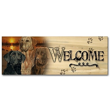 WGI GALLERY 'Lab Trio Welcome' Painting Print on Wood