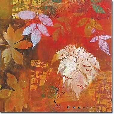 WGI GALLERY 'Leaves Red' Painting Print on Wood; 12'' H x 12'' W x 0.5'' D