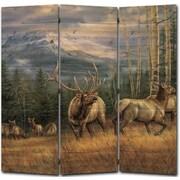 WGI GALLERY 55'' x 55'' Back Country Elk 3 Panel Room Divider