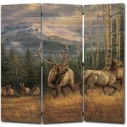WGI GALLERY 68'' x 68'' Back Country Elk 3 Panel Room Divider
